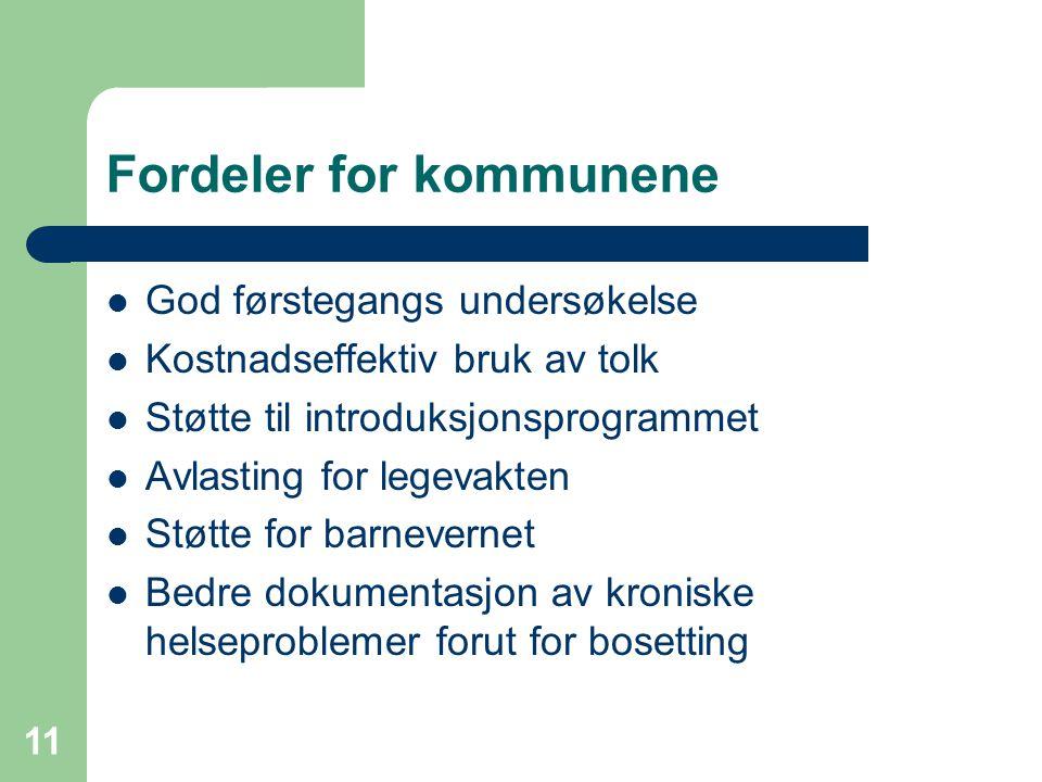 11 Fordeler for kommunene God førstegangs undersøkelse Kostnadseffektiv bruk av tolk Støtte til introduksjonsprogrammet Avlasting for legevakten Støtt