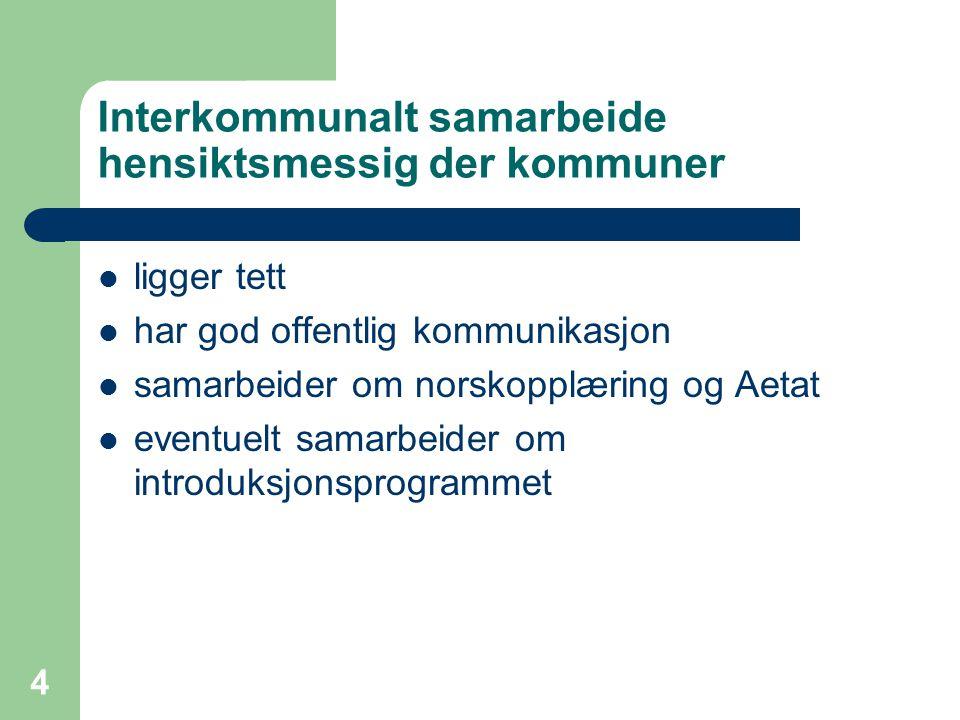 4 Interkommunalt samarbeide hensiktsmessig der kommuner ligger tett har god offentlig kommunikasjon samarbeider om norskopplæring og Aetat eventuelt s