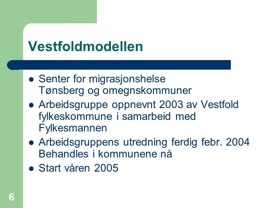 6 Vestfoldmodellen Senter for migrasjonshelse Tønsberg og omegnskommuner Arbeidsgruppe oppnevnt 2003 av Vestfold fylkeskommune i samarbeid med Fylkesm