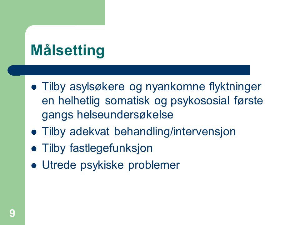 9 Målsetting Tilby asylsøkere og nyankomne flyktninger en helhetlig somatisk og psykososial første gangs helseundersøkelse Tilby adekvat behandling/in