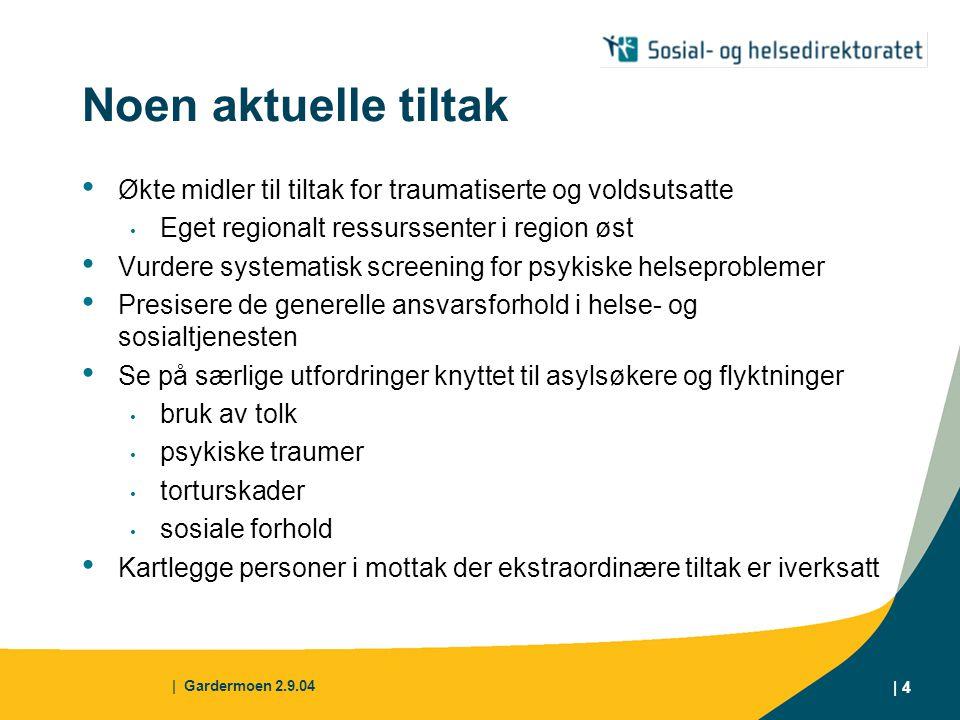   Gardermoen 2.9.04   5 Utfordring Hvordan utvikle og formidle spesialisert kompetanse i forhold til særlige behov hos asylsøkere og flyktninger og samtidig sikre at den alminnelige helse- og sosialtjeneste tar i bruk sine egne ressurser, kunnskaper og ferdigheter til beste for denne gruppen