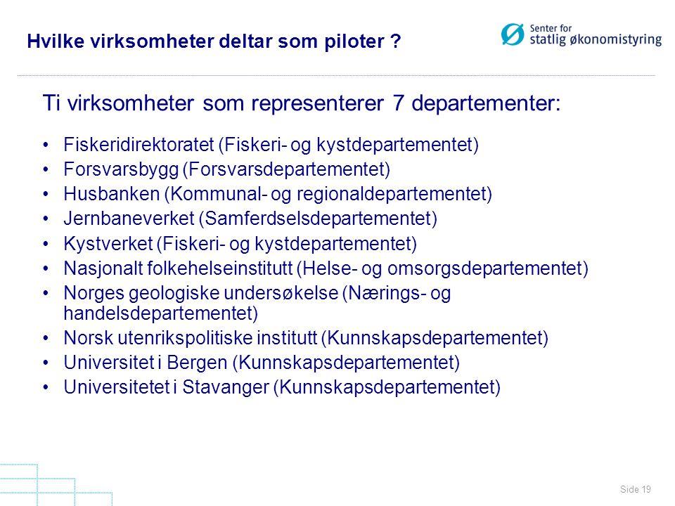 Side 19 Hvilke virksomheter deltar som piloter ? Ti virksomheter som representerer 7 departementer: Fiskeridirektoratet (Fiskeri- og kystdepartementet