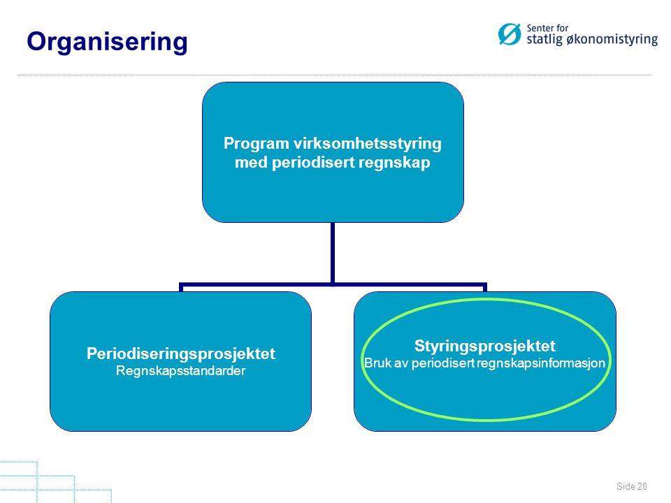 Side 28 Organisering Program virksomhetsstyring med periodisert regnskap Periodiseringsprosjektet Regnskapsstandarder Styringsprosjektet Bruk av perio