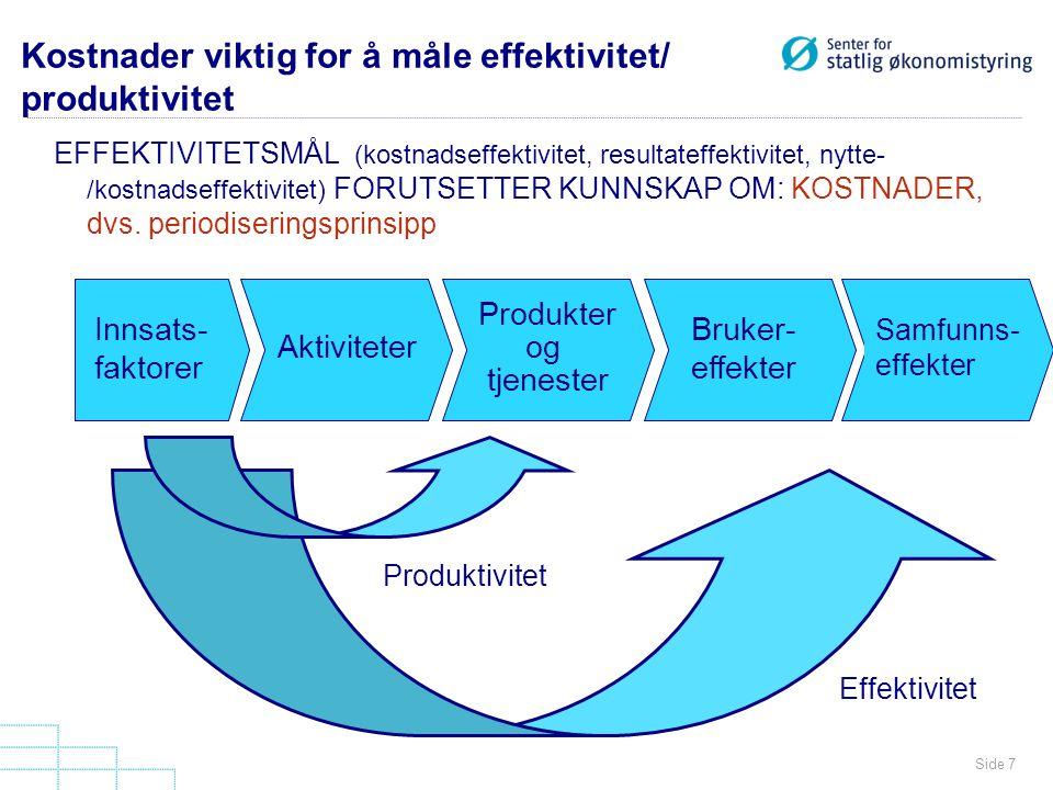 Side 7 Kostnader viktig for å måle effektivitet/ produktivitet EFFEKTIVITETSMÅL (kostnadseffektivitet, resultateffektivitet, nytte- /kostnadseffektivi