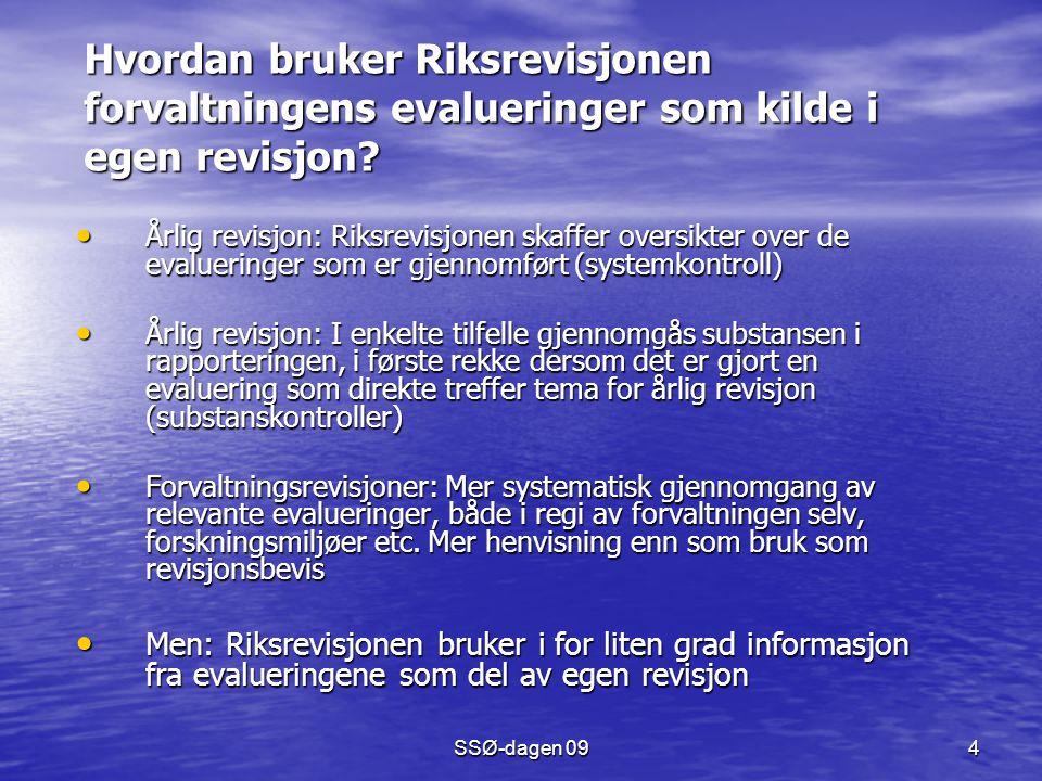 SSØ-dagen 09 4 Hvordan bruker Riksrevisjonen forvaltningens evalueringer som kilde i egen revisjon? Årlig revisjon: Riksrevisjonen skaffer oversikter