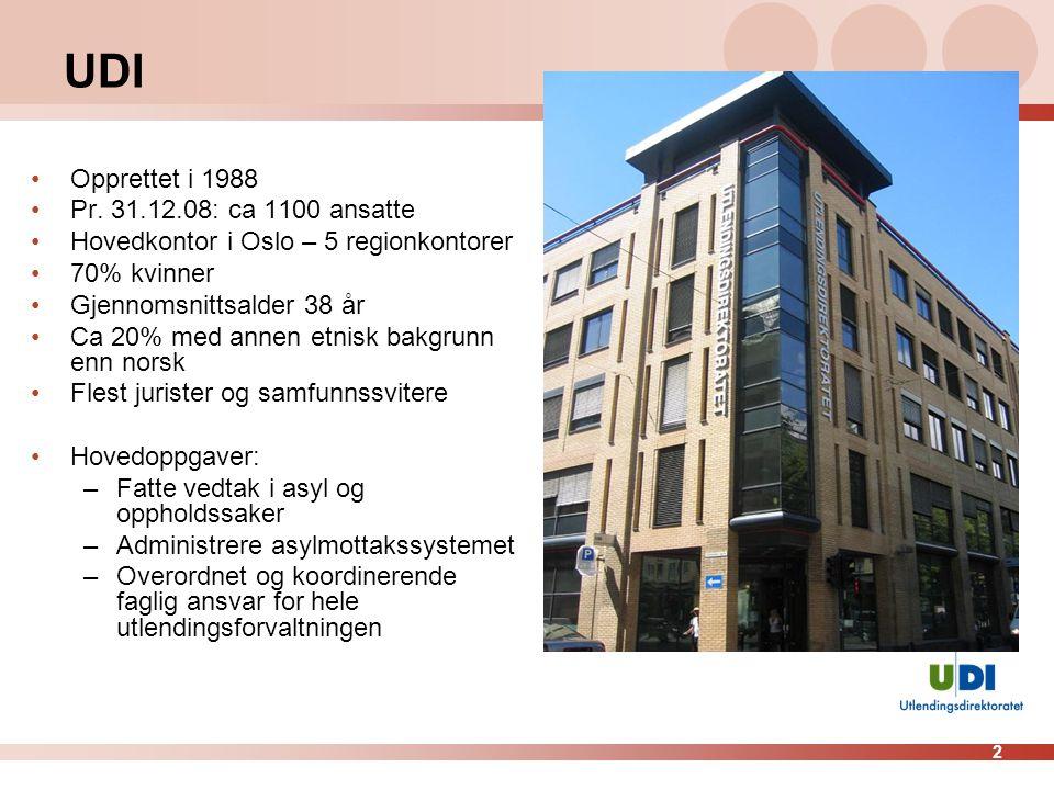 2 UDI Opprettet i 1988 Pr. 31.12.08: ca 1100 ansatte Hovedkontor i Oslo – 5 regionkontorer 70% kvinner Gjennomsnittsalder 38 år Ca 20% med annen etnis