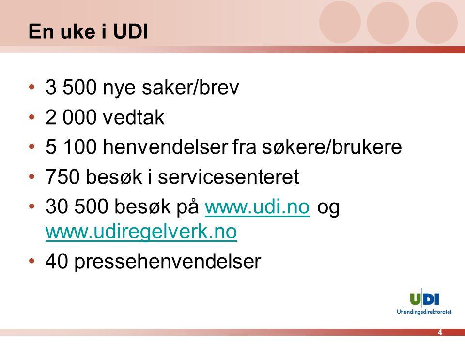 4 En uke i UDI 3 500 nye saker/brev 2 000 vedtak 5 100 henvendelser fra søkere/brukere 750 besøk i servicesenteret 30 500 besøk på www.udi.no og www.u