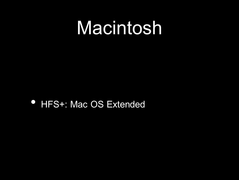 Macintosh HFS+: Mac OS Extended