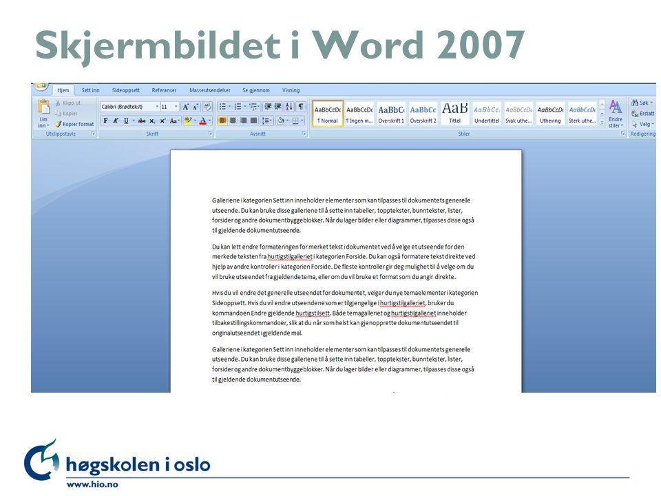 Skjermbildet i Word 2007