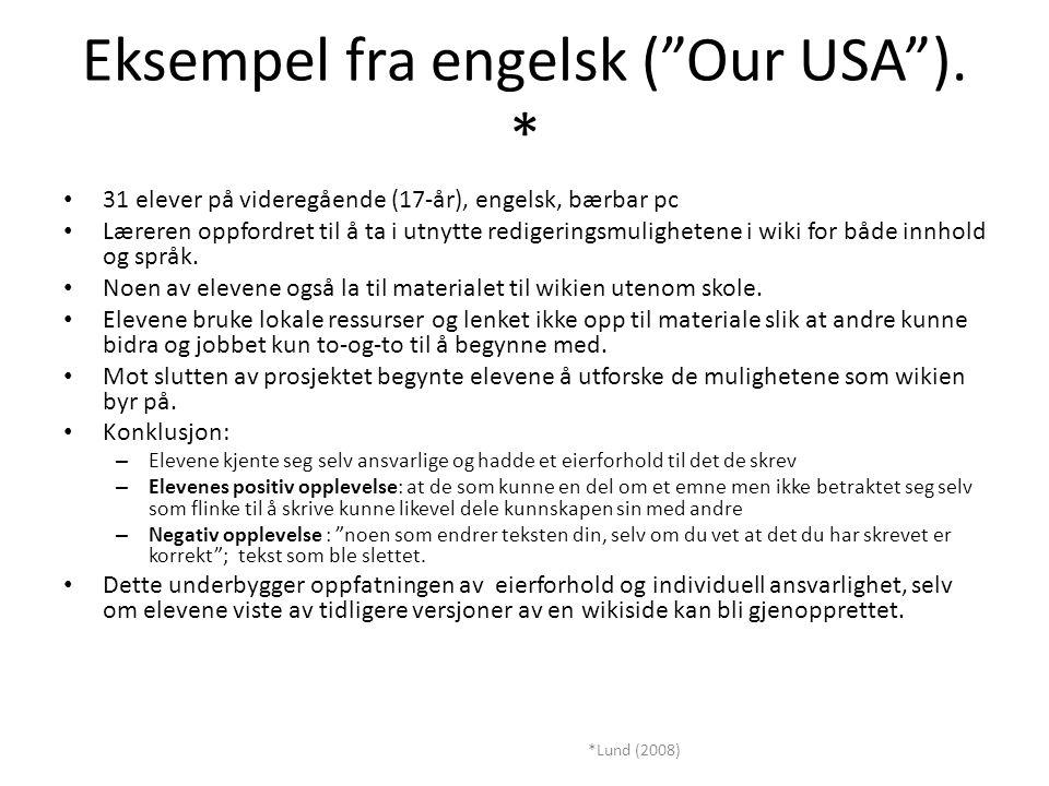 Eksempel fra engelsk ( Our USA ).