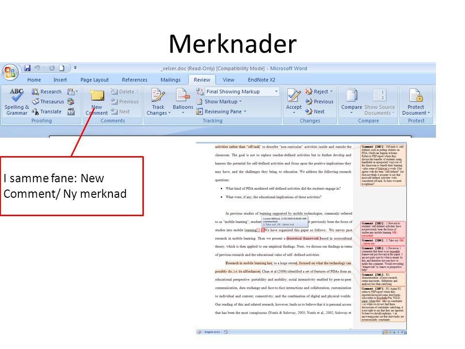 I samme fane: New Comment/ Ny merknad Merknader