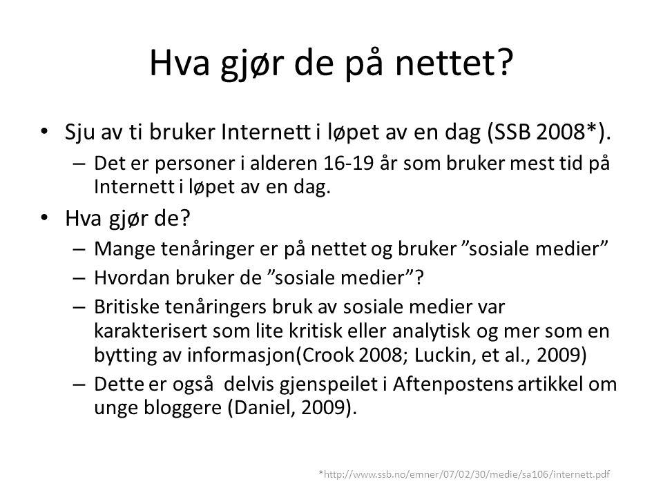 Hva gjør de på nettet. Sju av ti bruker Internett i løpet av en dag (SSB 2008*).