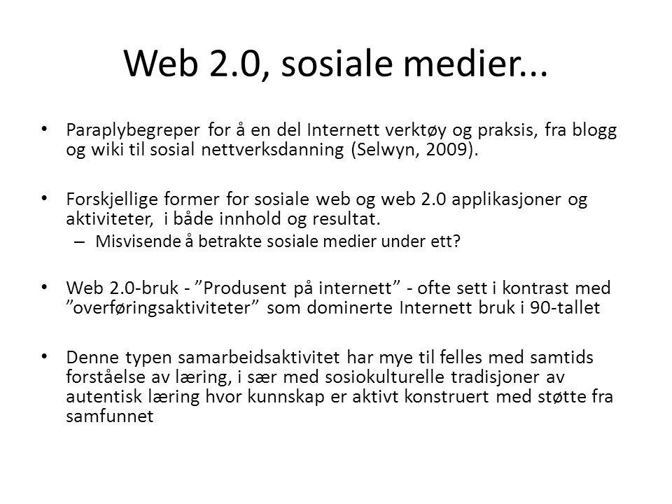 Web 2.0, sosiale medier...