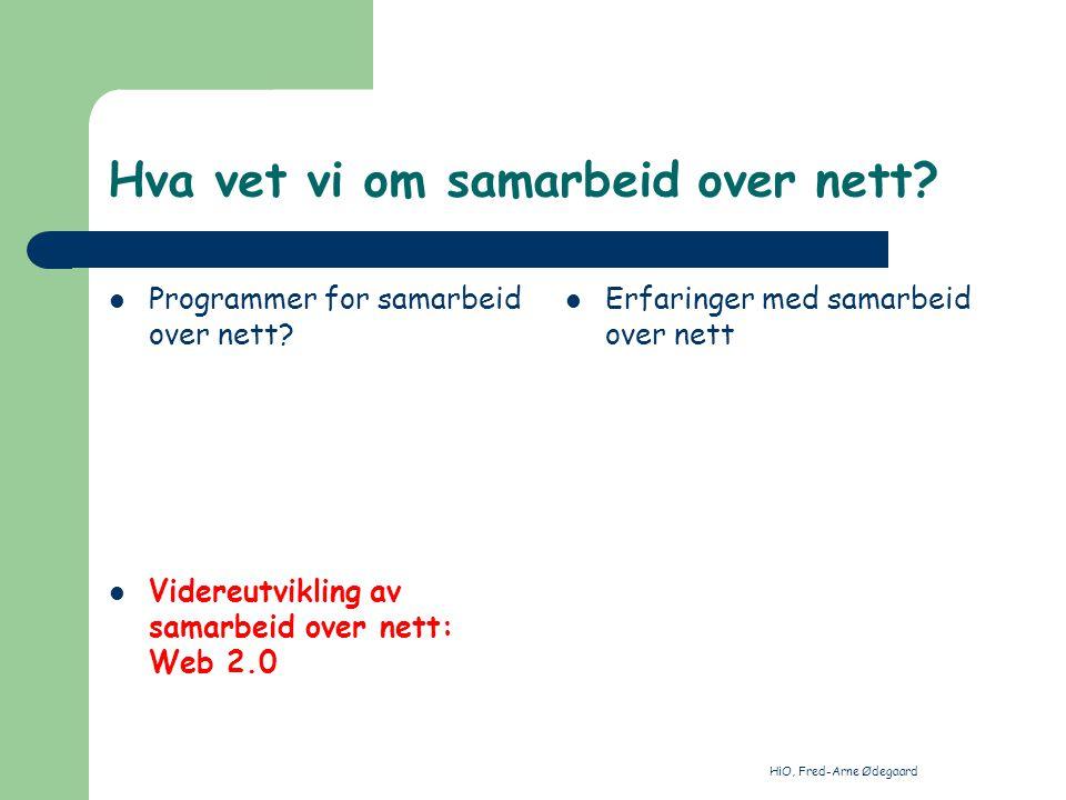 HiO, Fred-Arne Ødegaard Hva vet vi om samarbeid over nett? Programmer for samarbeid over nett? Videreutvikling av samarbeid over nett: Web 2.0 Erfarin
