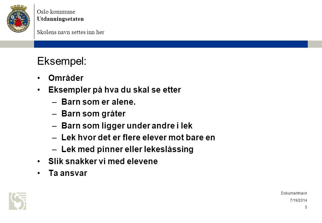 Oslo kommune Utdanningsetaten Skolens navn settes inn her Eksempel: Områder Eksempler på hva du skal se etter –Barn som er alene.