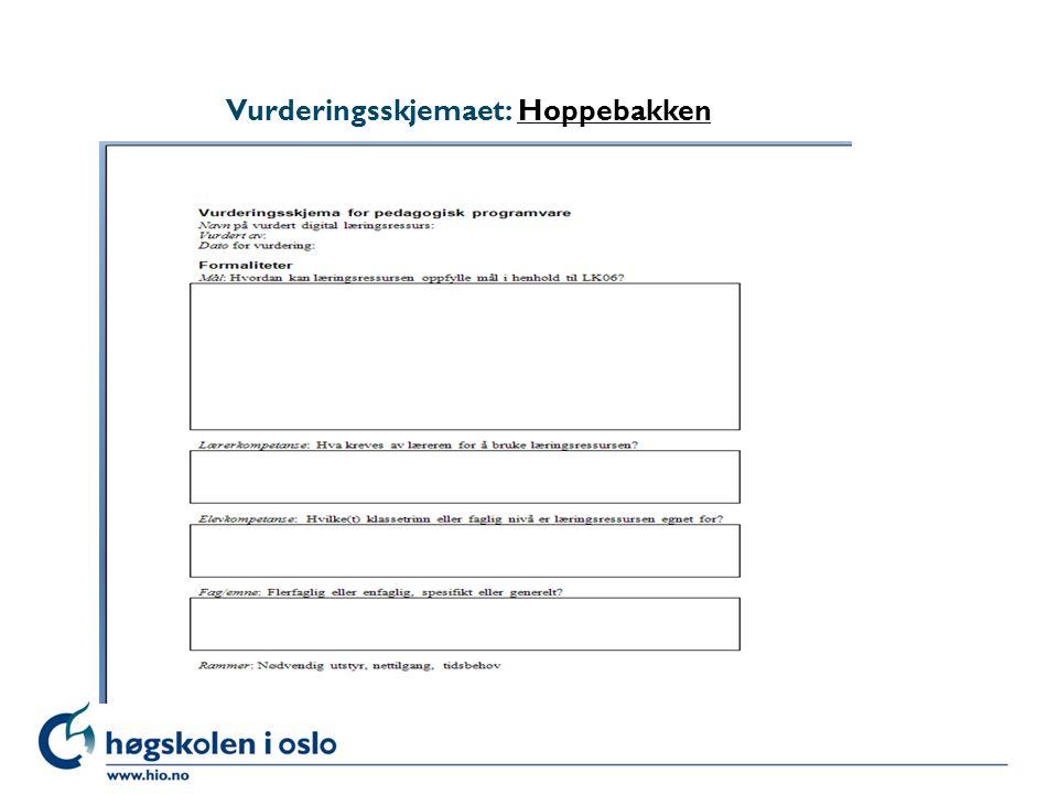 Vurderingsskjemaet: HoppebakkenHoppebakken