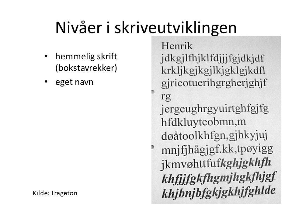 Nivåer i skriveutviklingen hemmelig skrift (bokstavrekker) eget navn Kilde: Trageton