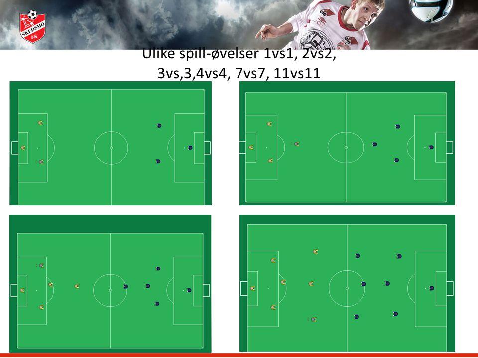 Ulike spill-øvelser 1vs1, 2vs2, 3vs,3,4vs4, 7vs7, 11vs11