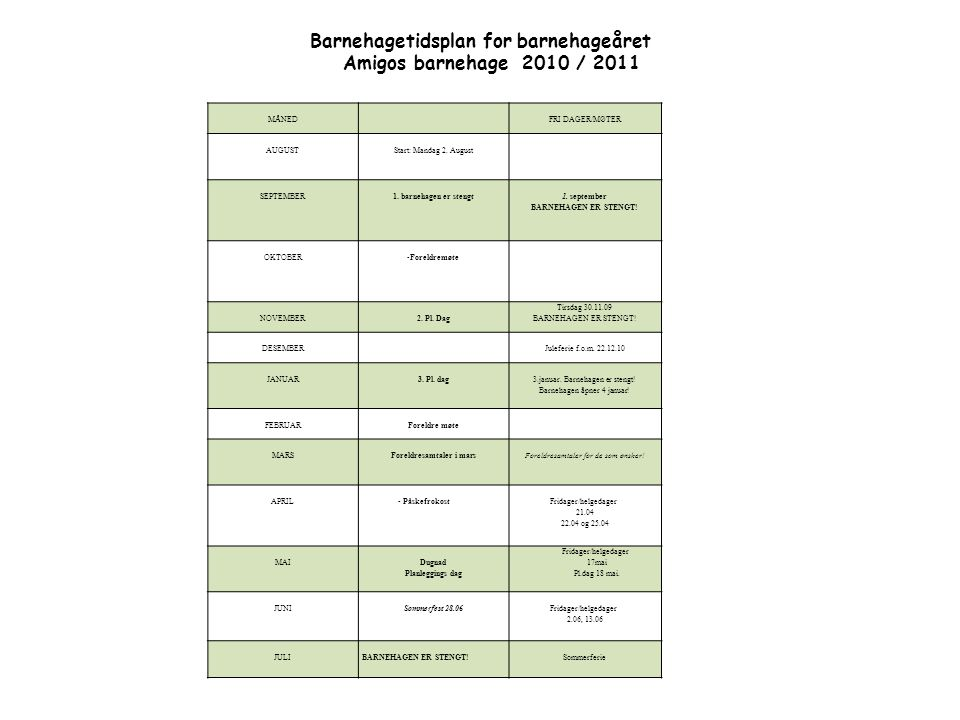 MÅNEDFRI DAGER/MØTER AUGUSTStart: Mandag 2. August SEPTEMBER1. barnehagen er stengt 1. september BARNEHAGEN ER STENGT! OKTOBER -Foreldremøte NOVEMBER2