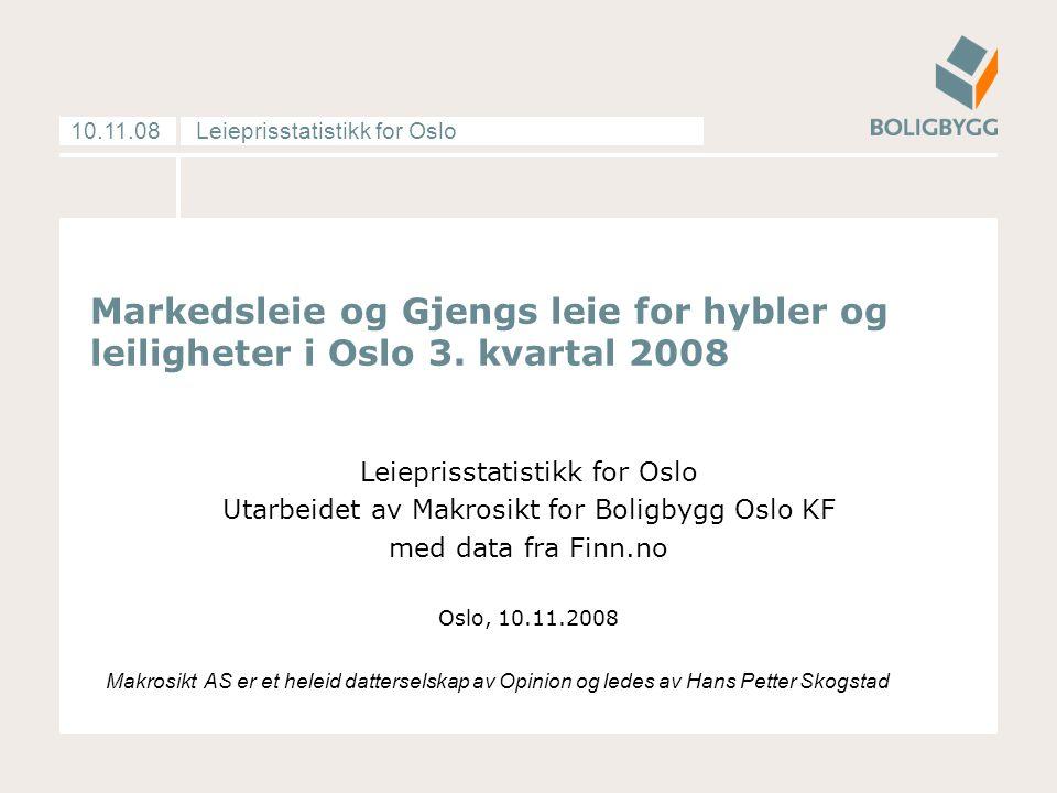 Leieprisstatistikk for Oslo10.11.08 Markedsleie og Gjengs leie for hybler og leiligheter i Oslo 3.