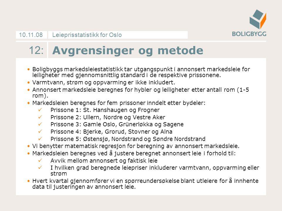 Leieprisstatistikk for Oslo10.11.08 12: Avgrensinger og metode Boligbyggs markedsleiestatistikk tar utgangspunkt i annonsert markedsleie for leiligheter med gjennomsnittlig standard i de respektive prissonene.