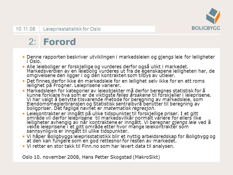 Leieprisstatistikk for Oslo10.11.08 2: Forord Denne rapporten beskriver utviklingen i markedsleien og gjengs leie for leiligheter i Oslo.