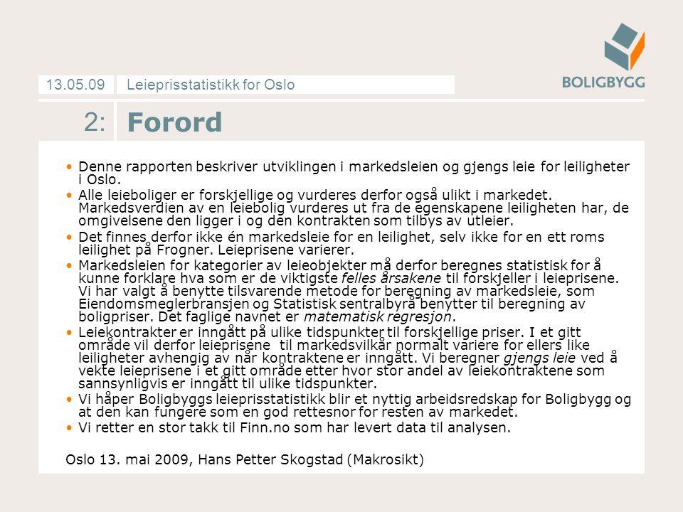 Leieprisstatistikk for Oslo13.05.09 3: Innhold Forordside 2 Pris- og tilbudsutviklingenside 4-13 Vedleggside 14-16 Tabeller