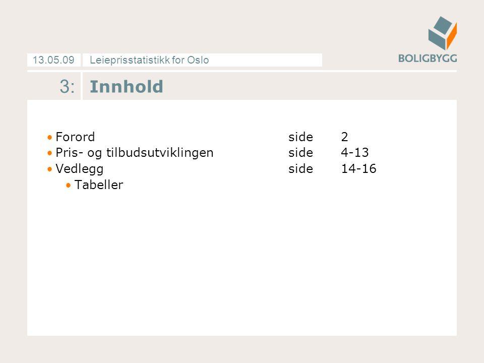 Leieprisstatistikk for Oslo13.05.09 4: Gjengs leie opp, markedsleie ned Gjengs leie økte med 2,7 prosent fra 4.
