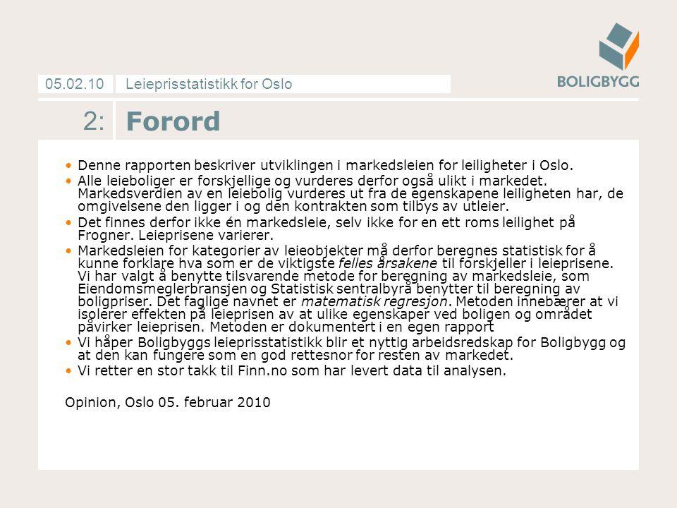 Leieprisstatistikk for Oslo05.02.10 2: Forord Denne rapporten beskriver utviklingen i markedsleien for leiligheter i Oslo.