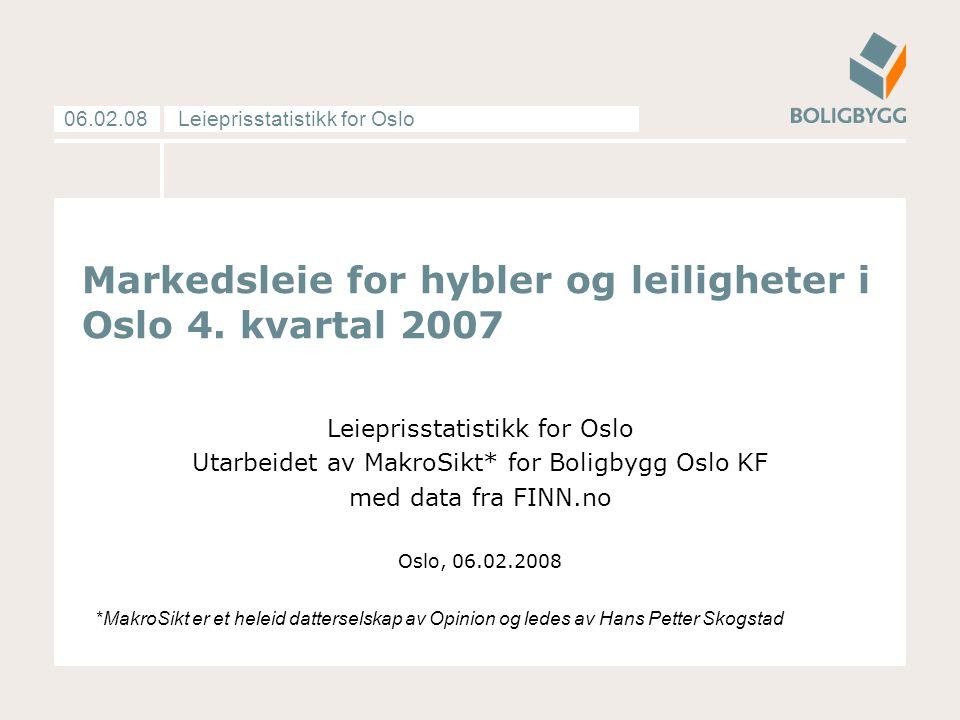 Leieprisstatistikk for Oslo06.02.08 Markedsleie for hybler og leiligheter i Oslo 4.