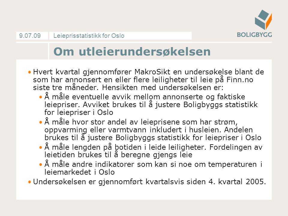 Leieprisstatistikk for Oslo9.07.09 Hvert kvartal gjennomfører MakroSikt en undersøkelse blant de som har annonsert en eller flere leiligheter til leie på Finn.no siste tre måneder.