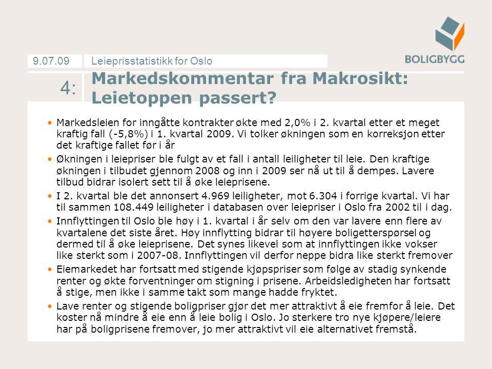 Leieprisstatistikk for Oslo9.07.09 …Markedskommentaren fortsetter: Vår spørreundersøkelse rettet mot utleierne viser stigende forventninger om økning i leieprisene det kommende året.