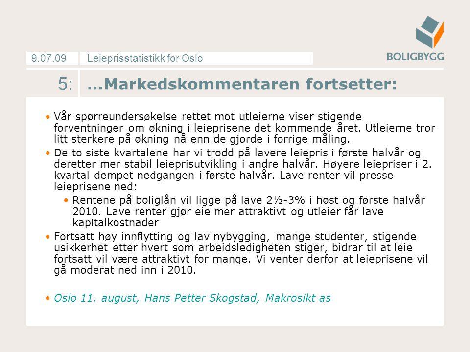 Leieprisstatistikk for Oslo9.07.09 16: Markedsleie pr måned i Oslos fem prissoner Kilde: MakroSikt med data fra Finn.no