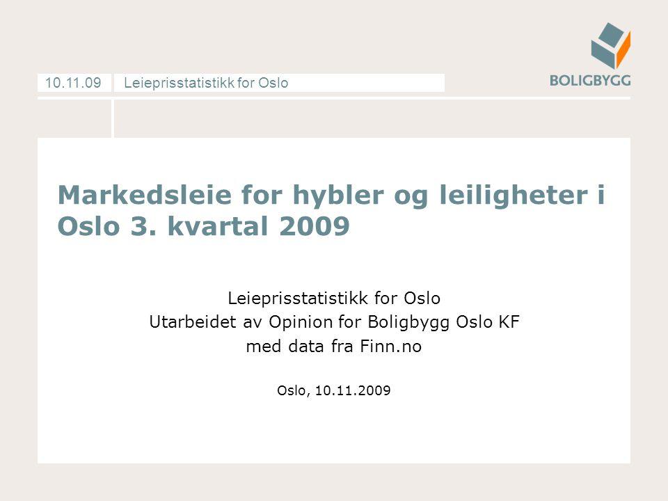 Leieprisstatistikk for Oslo10.11.09 Markedsleie for hybler og leiligheter i Oslo 3. kvartal 2009 Leieprisstatistikk for Oslo Utarbeidet av Opinion for