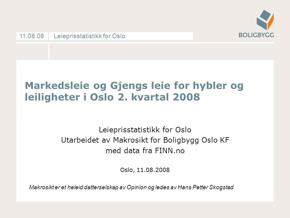 Leieprisstatistikk for Oslo11.08.08 Markedsleie og Gjengs leie for hybler og leiligheter i Oslo 2. kvartal 2008 Leieprisstatistikk for Oslo Utarbeidet