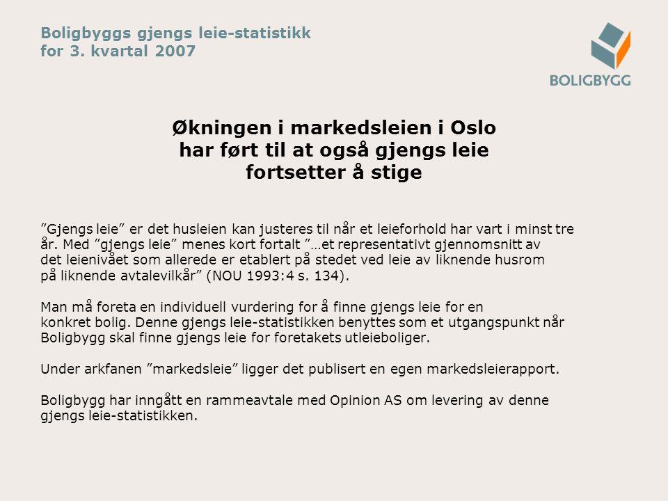 """Boligbyggs gjengs leie-statistikk for 3. kvartal 2007 Økningen i markedsleien i Oslo har ført til at også gjengs leie fortsetter å stige """"Gjengs leie"""""""