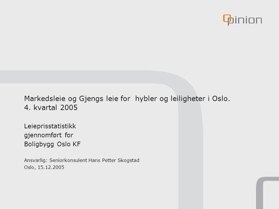 Markedsleie og Gjengs leie for hybler og leiligheter i Oslo. 4. kvartal 2005 Leieprisstatistikk gjennomført for Boligbygg Oslo KF Ansvarlig: Seniorkon