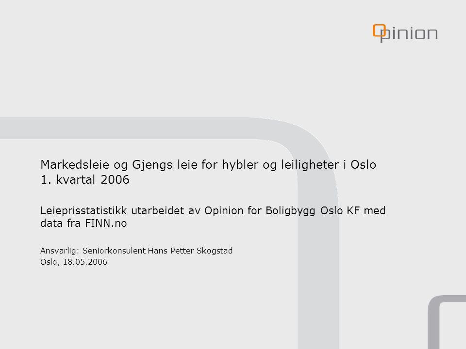 Markedsleie og Gjengs leie for hybler og leiligheter i Oslo 1. kvartal 2006 Leieprisstatistikk utarbeidet av Opinion for Boligbygg Oslo KF med data fr