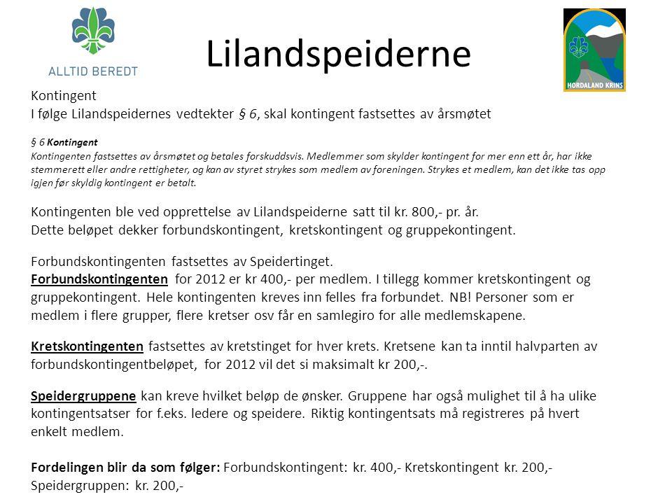Lilandspeiderne Kontingent I følge Lilandspeidernes vedtekter § 6, skal kontingent fastsettes av årsmøtet § 6 Kontingent Kontingenten fastsettes av år