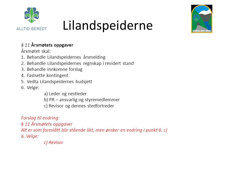 Lilandspeiderne § 11 Årsmøtets oppgaver Årsmøtet skal: 1.Behandle Lilandspeidernes årsmelding 2.Behandle Lilandspeidernes regnskap i revidert stand 3.