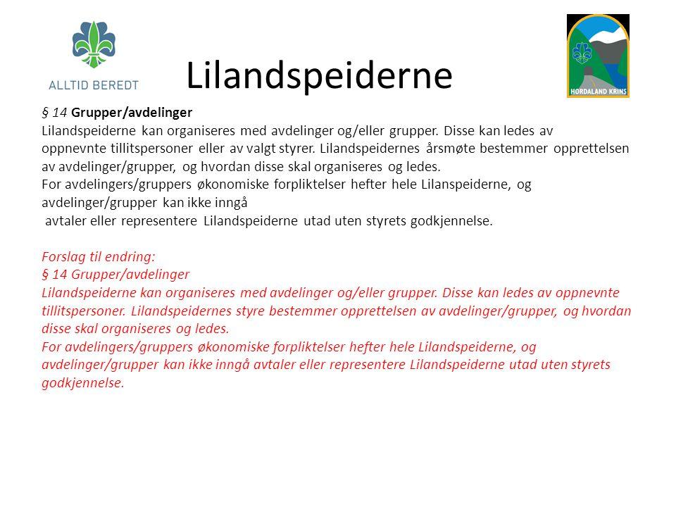 Lilandspeiderne § 14 Grupper/avdelinger Lilandspeiderne kan organiseres med avdelinger og/eller grupper. Disse kan ledes av oppnevnte tillitspersoner