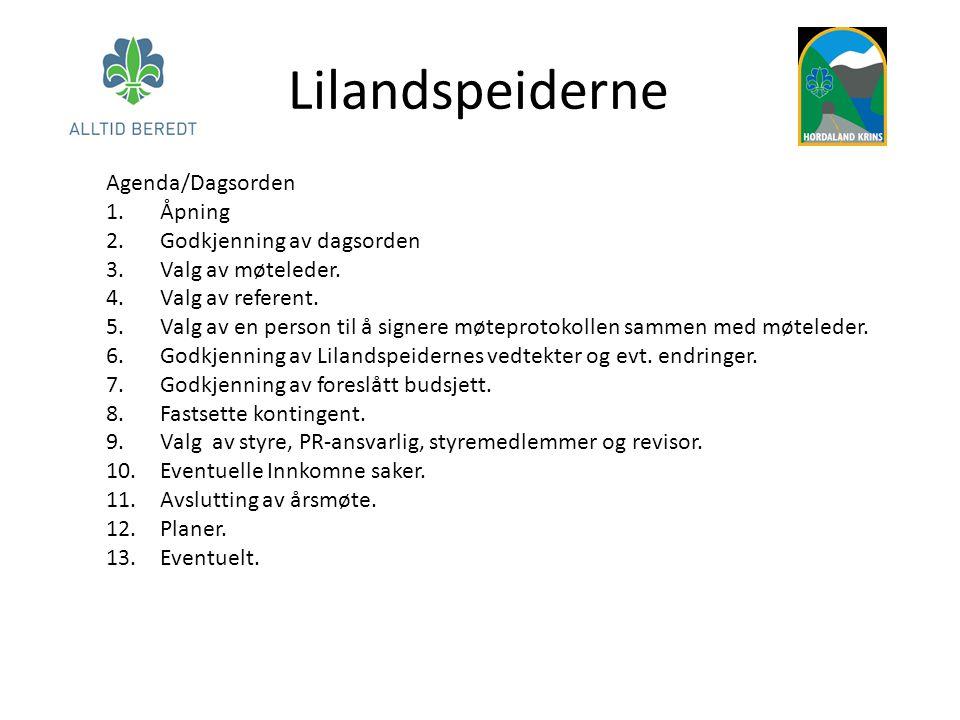 Lilandspeiderne Agenda/Dagsorden 1.Åpning 2.Godkjenning av dagsorden 3.Valg av møteleder. 4.Valg av referent. 5.Valg av en person til å signere møtepr