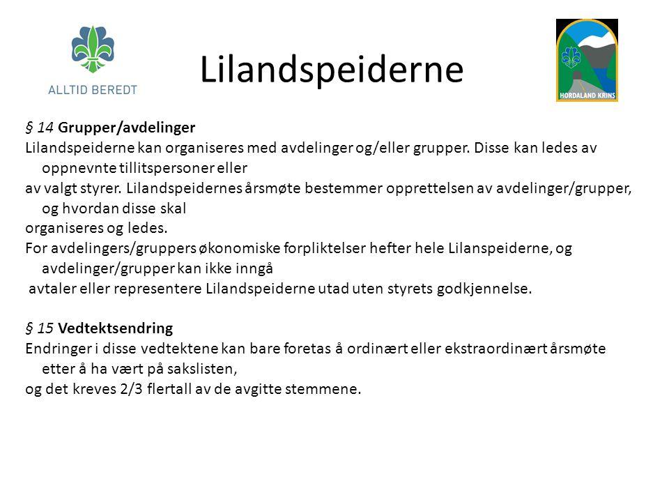Lilandspeiderne § 14 Grupper/avdelinger Lilandspeiderne kan organiseres med avdelinger og/eller grupper.