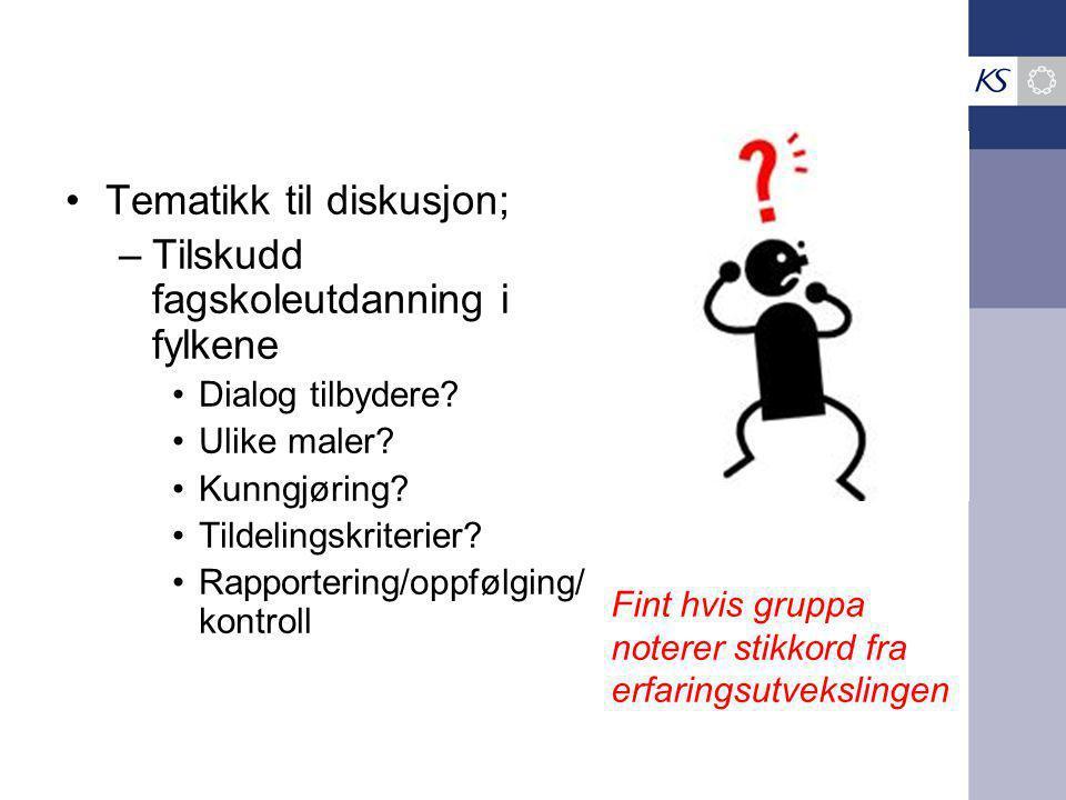 Tematikk til diskusjon; –Tilskudd fagskoleutdanning i fylkene Dialog tilbydere.