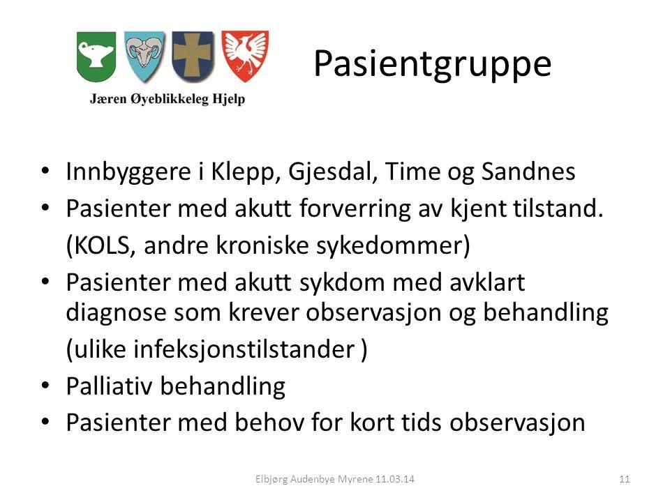 Pasientgruppe Innbyggere i Klepp, Gjesdal, Time og Sandnes Pasienter med akutt forverring av kjent tilstand.