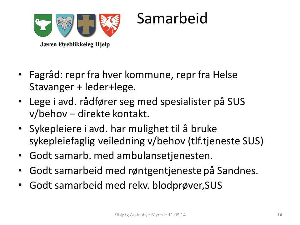 Samarbeid Fagråd: repr fra hver kommune, repr fra Helse Stavanger + leder+lege.