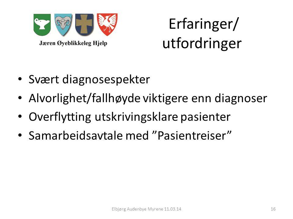 Erfaringer/ utfordringer Svært diagnosespekter Alvorlighet/fallhøyde viktigere enn diagnoser Overflytting utskrivingsklare pasienter Samarbeidsavtale med Pasientreiser Elbjørg Audenbye Myrene 11.03.1416
