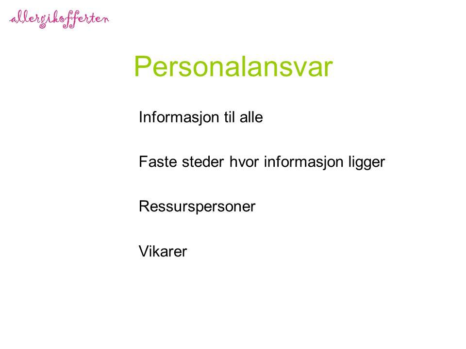 Personalansvar Informasjon til alle Faste steder hvor informasjon ligger Ressurspersoner Vikarer