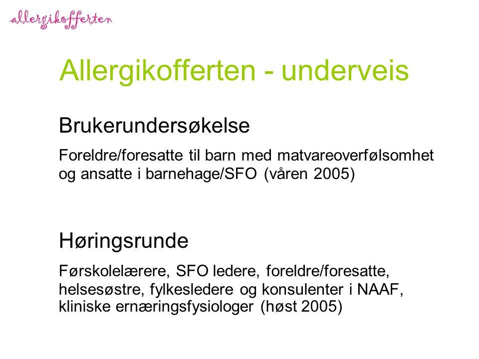 Allergikofferten - underveis Brukerundersøkelse Foreldre/foresatte til barn med matvareoverfølsomhet og ansatte i barnehage/SFO (våren 2005) Høringsrunde Førskolelærere, SFO ledere, foreldre/foresatte, helsesøstre, fylkesledere og konsulenter i NAAF, kliniske ernæringsfysiologer (høst 2005)