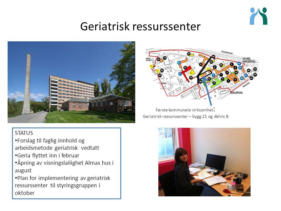 Geriatrisk ressurssenter Første kommunale virksomhet : Geriatrisk ressurssenter – bygg 21 og delvis 8 STATUS Forslag til faglig innhold og arbeidsmeto